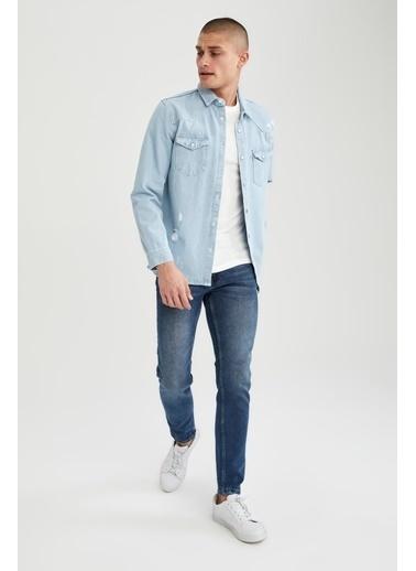 DeFacto Regular Fit Uzun Kollu Jean Gömlek Mavi